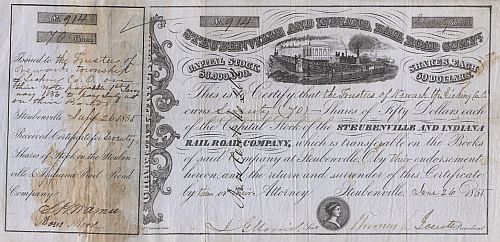 Steubenville and Indiana Rail Road Comp. historic stocks - old certificates