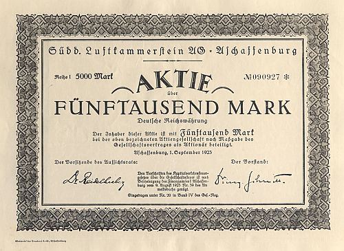 Südd. Luftkammerstein AG Aschaffenburg historic stocks - old certificates