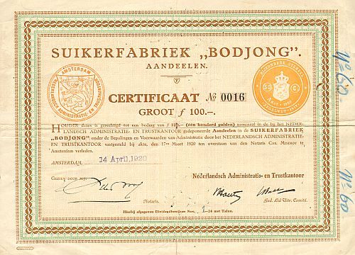 "Suikerfabriek ""Bodjong""  historic stocks - old certificates"
