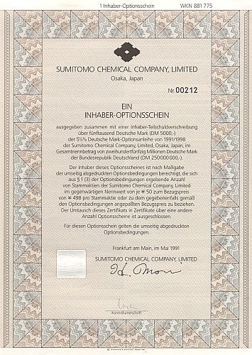 Sumitomo Chemical historic stocks - old certificates