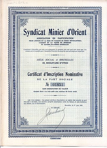 Syndicat Minier d'Orient historic stocks - old certificates