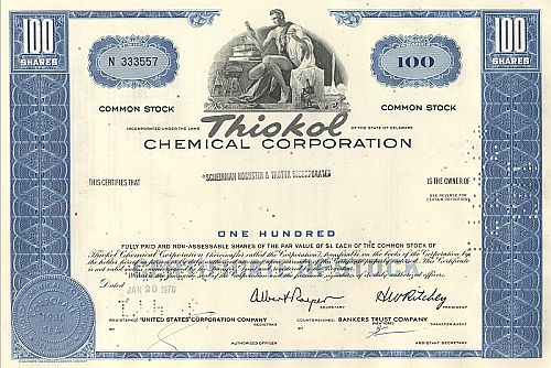 Thiocol Cemical Corporation historic stocks - old certificates