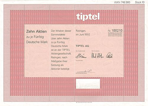 Tiptel historic stocks - old certificates