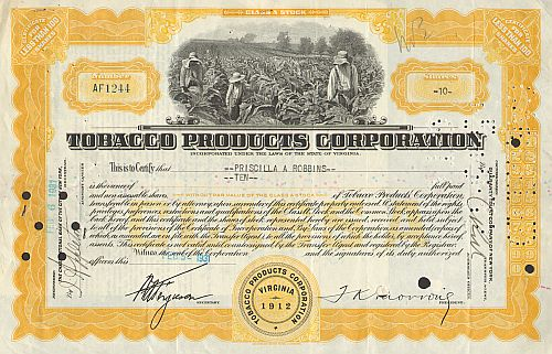 Tobacco Products Corporation (kleiner 100 Shares) -  historic stocks - old certificates Food and Stimulants