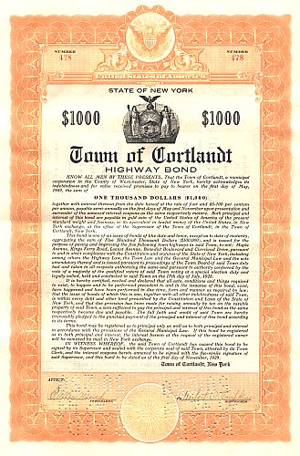 Town of Cortlandt historic stocks - old certificates