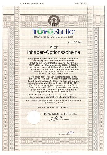Toyo Shutter historic stocks - old certificates