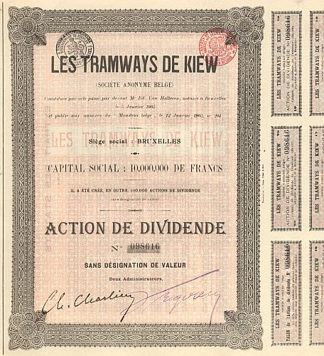 Tramways de Kiew historic stocks - old certificates