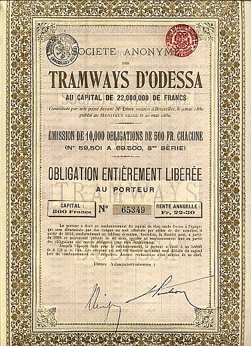 Tramways d' Odessa historic stocks - old certificates