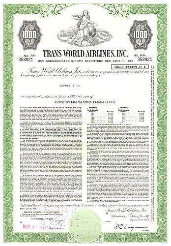 Trans World Airlines Inc. historic stocks - old certificates