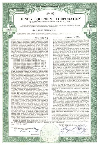 Trinity Equipment Corporation historic stocks - old certificates