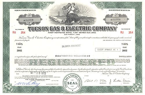 Tucson Gas & Electric Company historic stocks - old certificates