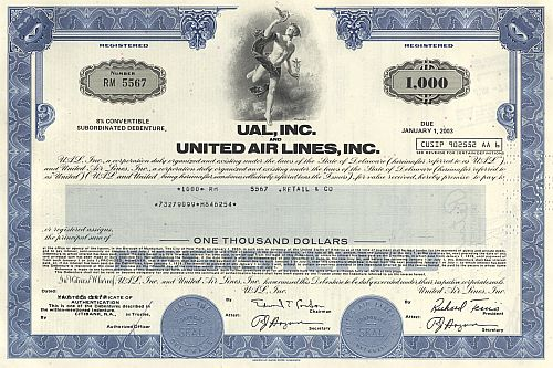 Ual, Inc. and United Air Lines,Inc. historic stocks - old certificates