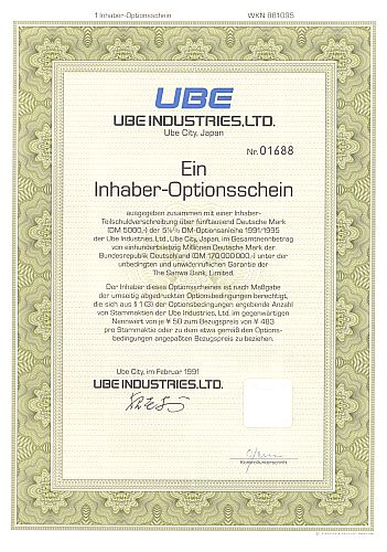 UBE Industries historic stocks - old certificates