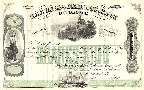Uncas National Bank of Norwich historic stocks - old certificates