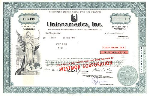 Unionamerica Inc. historic stocks - old certificates