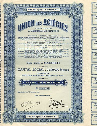 Union des Acieries historic stocks - old certificates