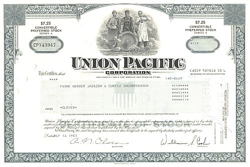 Union Pacific Corporation historic stocks - old certificates