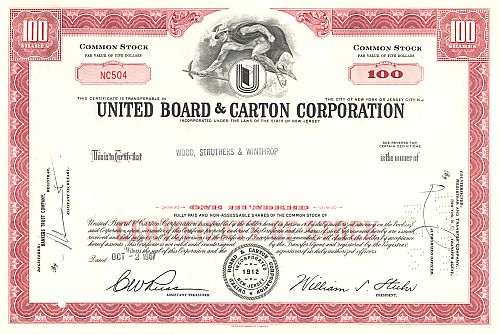 United Board & Carton Corporation historic stocks - old certificates