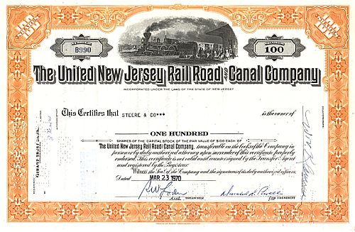 United New Jersey Railroad and Canal Company historic stocks - old certificates