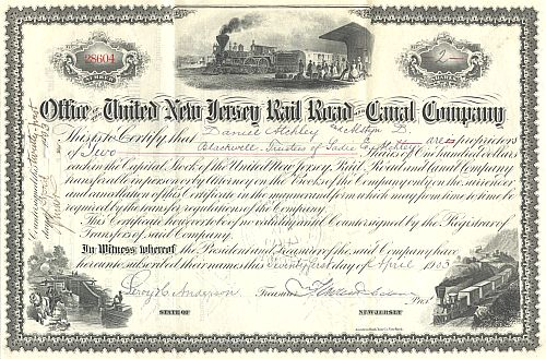 United New Jersey Rail Road and Canal Company historic stocks - old certificates