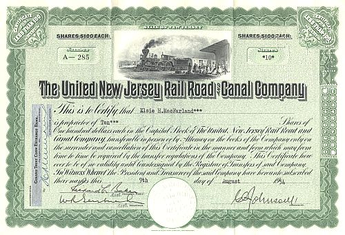 United New Jersey Railroad and Canal Company historische Wertpapiere - alte Aktien