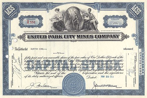 United Park City Mines Company historic stocks - old certificates