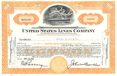 United States Lines Company historic stocks - old certificates