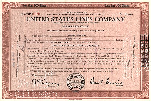 Unites Stated Lines Company (alt) historic stocks - old certificates