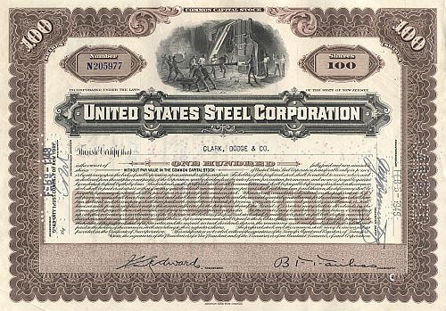 United States Steel Corporation historic stocks - old certificates