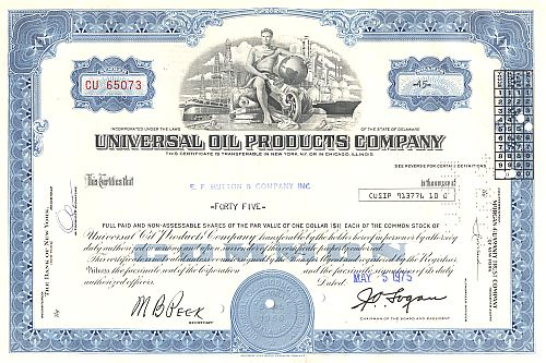 Universal Oil Products Company historic stocks - old certificates