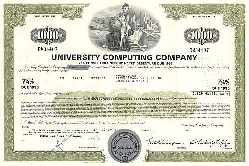 University Computing Company historic stocks - old certificates