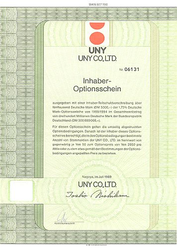 UNY Co. historic stocks - old certificates