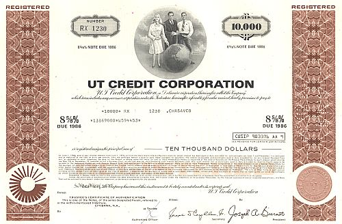 UT Credit Corporation historic stocks - old certificates