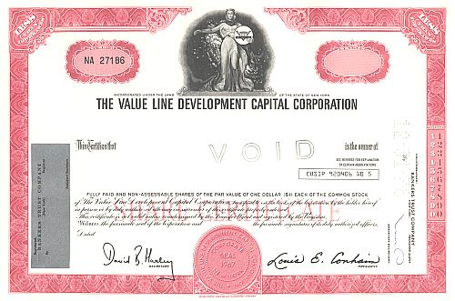 Value Line Development Capital Corporation historische Wertpapiere - alte Aktien