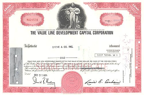 Value Line Development Capital Corporation historic stocks - old certificates