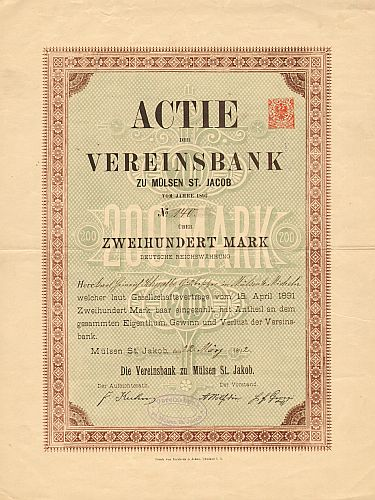 Vereinsbank zu Mülsen St. Jacob (1892)  historic stocks - old certificates