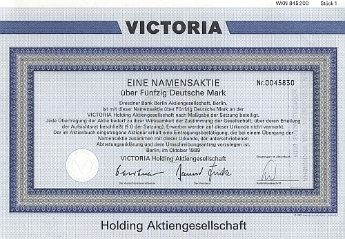 Victoria Holding Aktiengesellschaft 1989 historic stocks - old certificates