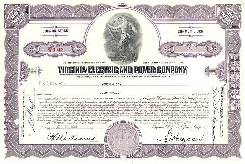 Virginia Electric and Power Company historic stocks - old certificates