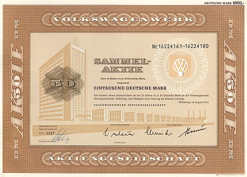Volkswagenwerk Aktiengesellschaft 1000.-DM (20x 50.-DM) historic stocks - old certificates