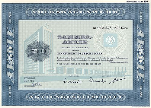 Volkswagenwerk Aktiengesellschaft 100.-DM (2x 50.-DM) historic stocks - old certificates