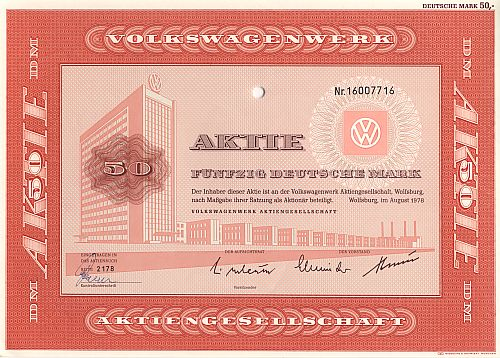 Volkswagenwerk Aktiengesellschaft 50.-DM historic stocks - old certificates