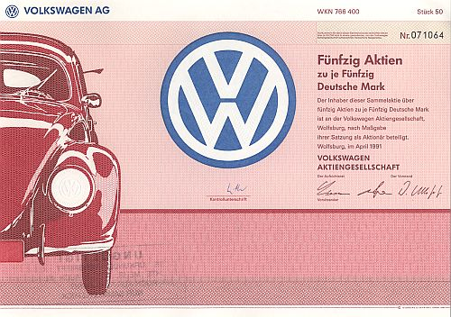 Volkswagen AG 2500.-DM (50x 50.-DM) historic stocks - old certificates