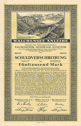 Walchensee Anleihe historic stocks - old certificates