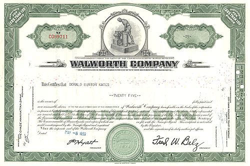Walworth Company historic stocks - old certificates