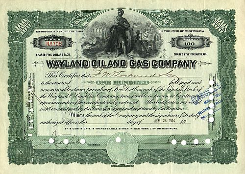 Wayland Oil and Gas Company historic stocks - old certificates