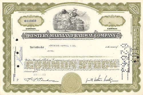 Western Maryland Railway Company (Less than 100 Shares)