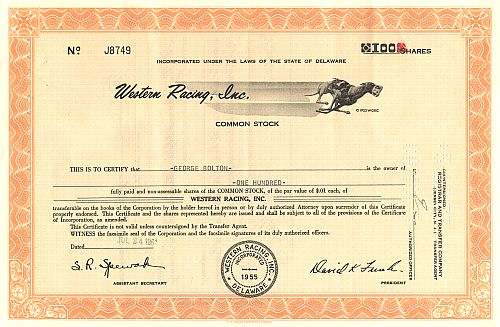 Western Racing Inc. historic stocks - old certificates