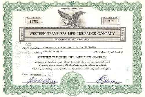 Western Travelers Life Insurance historic stocks - old certificates