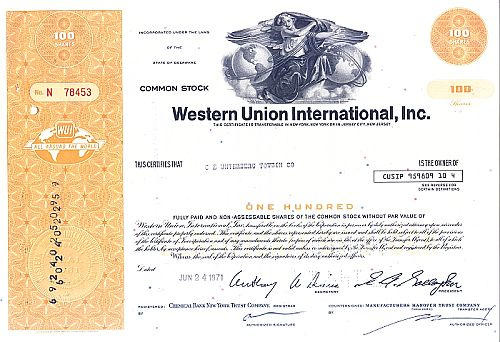 Western Union International Inc. historic stocks - old certificates