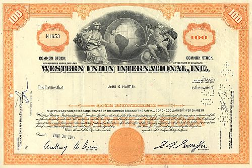 Western Union International Inc. historische Wertpapiere - alte Aktien